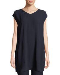Eileen Fisher - Cap-sleeve Silk Crepe Tunic W/ Pockets - Lyst