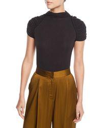 Josie Natori - Ruched Short-sleeve Thong-back Bodysuit - Lyst