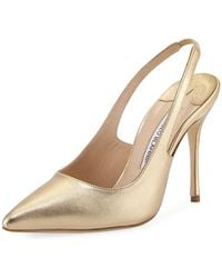 Manolo Blahnik - Allura Metallic Leather Slingback Pump - Lyst
