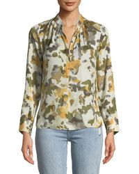 Zadig & Voltaire - Tink Camo-print Satin Long-sleeve Blouse - Lyst
