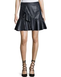 Rebecca Taylor | Vegan Leather Ruffle Mini Skirt | Lyst