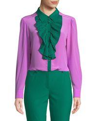 ESCADA - Pleated Ruffle Bib Button-front Long-sleeve Silk Blouse - Lyst
