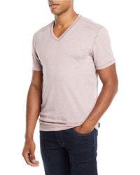 John Varvatos - Men's V-neck Heathered T-shirt With Stitching Detail - Lyst