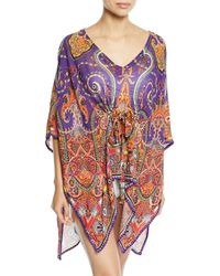Etro - Printed V-neck Coverup Caftan - Lyst