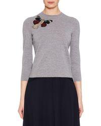 Alexander McQueen - Crewneck 3/4-sleeve Milano Wool Knit Sweater W/ Moth Embellishment - Lyst