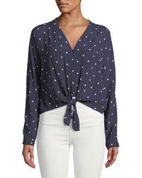 Rails - Sloane Dot-print Tie-front Blouse - Lyst