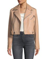 Alice + Olivia - Cody Crop Lamb Leather Moto Jacket - Lyst