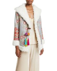 Johnny Was - Quarda Embroidered Faux-fur Coat - Lyst