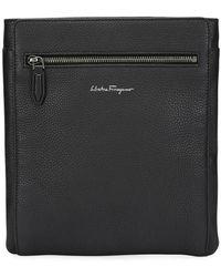 Lyst - Ferragamo Men s Leather Messenger Bag in Black for Men e75dc998952ba