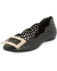 Roger Vivier - Gommette Perforated Calf Leather Ballet Flat With Metal Buckle - Lyst