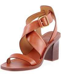 8754620151a Chloé - Virginia Strappy Leather Block-heel Sandals - Lyst