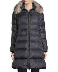 Kate Spade - Quilted Puffer Down Skirted Coat W/ Faux-fur Collar - Lyst
