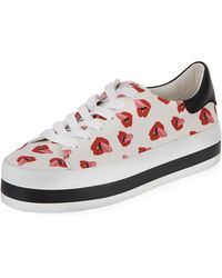 Alice + Olivia - Ezra Printed Canvas Lace-up Platform Low-top Sneakers - Lyst