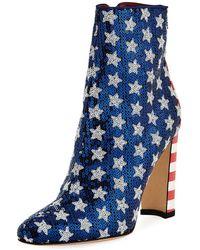 Manolo Blahnik - Nancy Sequined Stars & Stripes Flag Bootie - Lyst