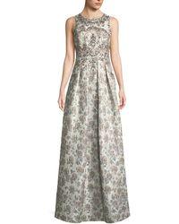 Aidan Mattox - Sleeveless Metallic Brocade Embellished Evening Gown - Lyst