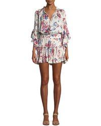 MISA | Cecile Split-neck Floral-printed Cap-sleeve Dress | Lyst