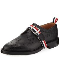 Thom Browne - Classic Long Wing Brogue Shoe With Striped Trim - Lyst