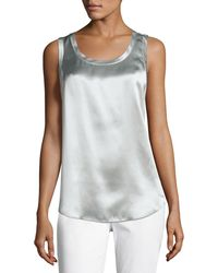 Lafayette 148 New York - Perla Luxe Reversible Silk Charmeuse Shell - Lyst