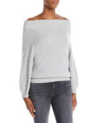 Alice + Olivia - Vicka Off-the-shoulder Long-sleeve Ribbed Wool Sweater - Lyst