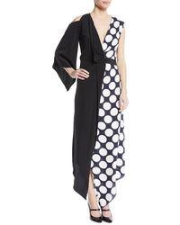 Awake - V-neck Draped One-sleeve Asymmetric Polka-dot Cocktail Dress - Lyst