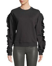 McQ - Ruffle-sleeve Crewneck Cotton Sweatshirt - Lyst
