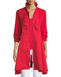 Joan Vass - Long-sleeve Zip-front Stretch Interlock Jacket - Lyst