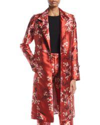 Johanna Ortiz - As If Notched-collar Renaissance Victorian Floral-print Mid-length Coat - Lyst