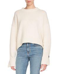 Proenza Schouler - Crewneck Folded Button-cuffs Wool-cashmere Sweater - Lyst