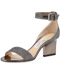 Jimmy Choo - Edina Metallic Fabric Sandals - Lyst
