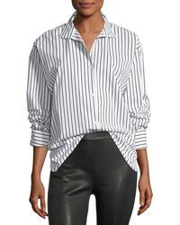 FRAME - Clean Collared Button-front Striped Cotton Oversized Shirt - Lyst