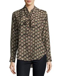 M.i.h Jeans - Twigs Floral-print Button-front Silk Shirt - Lyst