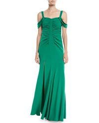 Halston - Cold-shoulder Ruched Gown - Lyst