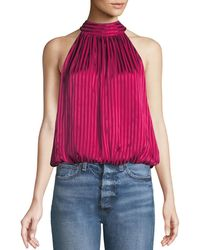 Alice + Olivia - Maris Gathered Halter Top - Lyst