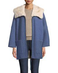 Agnona - Mink Fur-lined Hooded Cashmere Coat - Lyst