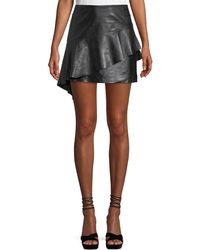 Joie - Botan Draped Ruffle Leather Mini Skirt - Lyst