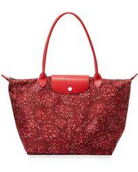 Longchamp - Le Pliage Fleur Medium Shoulder Bag - Lyst