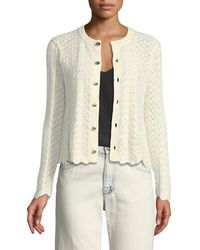 Marc Jacobs - Button-front Cross-stitched Long-sleeve Cashmere-blend Cardigan - Lyst