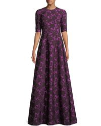 Lela Rose - Holly Floral-jacquard Elbow-sleeve A-line Evening Gown - Lyst