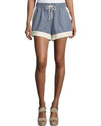 Nicholas - Micro-stripe Shorts W/braid & Fringe Trim - Lyst
