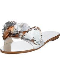 Sophia Webster - Soleil Embellished Mirror Leather Slide Sandals - Lyst