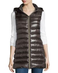 Herno - Long Ribbed Fitted Zip-front Vest W/ Removable Hood - Lyst