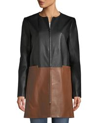 Neiman Marcus - Colorblock Leather Zip-front Topper - Lyst