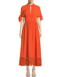 Lela Rose - Textured Silk Cloque Tie-sleeve Dress With Embroidered Lace Hem - Lyst