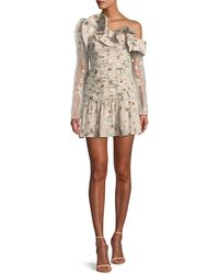 Self-Portrait - One-shoulder Star-embroidered Mesh Ruffle Mini Cocktail Dress - Lyst