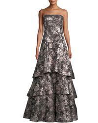 Aidan Mattox - Strapless Tiered Metallic Jacquard Evening Gown - Lyst