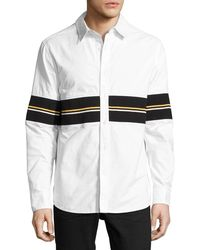 Daniel Won - Cotton Oxford Shirt With Striped Ribbed Trim - Lyst