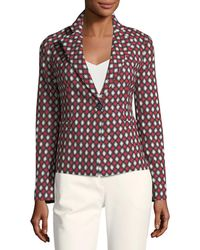 Emporio Armani - Notched-lapel One-button Optic-print Wool-blend Jacket - Lyst