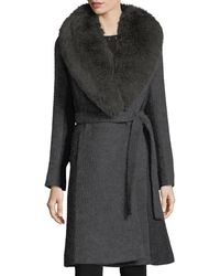 Fleurette - Wrap-front Shawl-collar Textured Knit Wrap Coat - Lyst