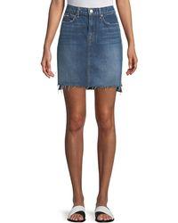 7 For All Mankind - Side-panel A-line Denim Skirt W/ Raw-edge Hem - Lyst