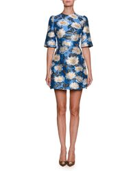 Dolce & Gabbana - High-neck Elbow-sleeve Jacquard Cocktail Dress - Lyst